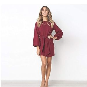 Dresses & Skirts - Red Tie Front Long Sleeve Dress